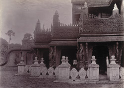 Carving on balustrade and railings of Queen's Monastery, [Mandalay]